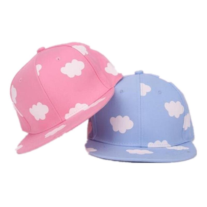 Damen Hip Hop Hüte Rosa Und Blau Wolken In Sommer Frische Und Nette Beiläufige Flache-krempe Hut Druck Leinwand Baseball Caps Durchsichtig In Sicht