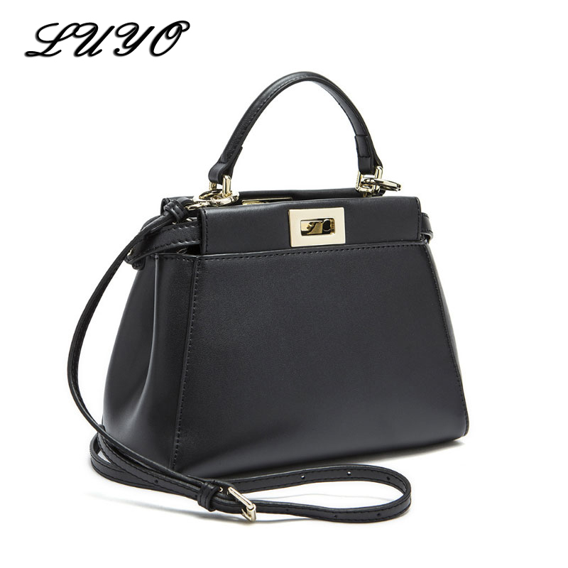 Genuine Leather Peekaboo Bag 2018 Luxury Handbags Women Messenger Bags Designer High Quality Leg Shoulder Bag Crossbody Tote Sac women peekaboo bags flowers high quality split leather messenger bag shoulder mini handbags tote famous brands designer bolsa