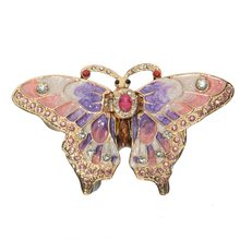 Crystal jeweled dragonfly trinket jewelry box necklace holder ring container metal craft collectible figurines(China)