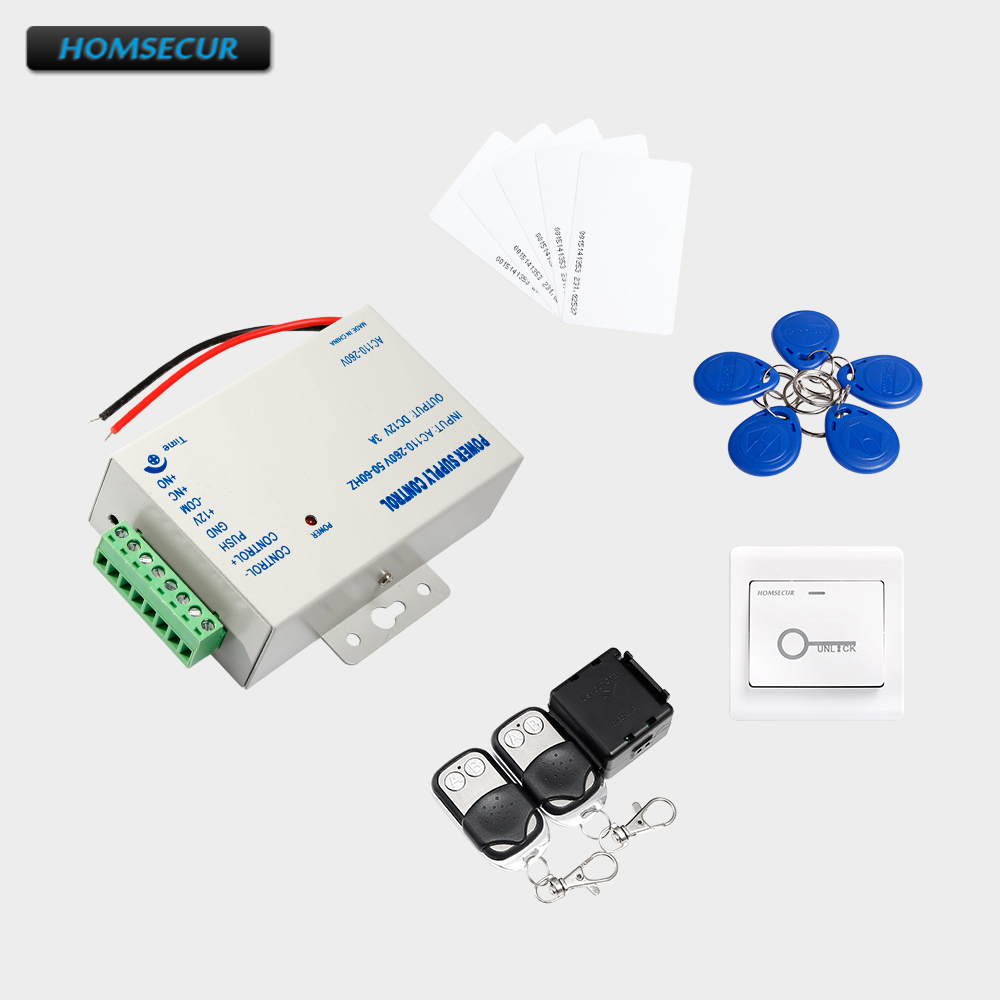 HOMSECUR 5Pcs Keyfob+5Pcs Card+Exit Button+Power Supply+ Remote Controller 5pcs bs250 to92