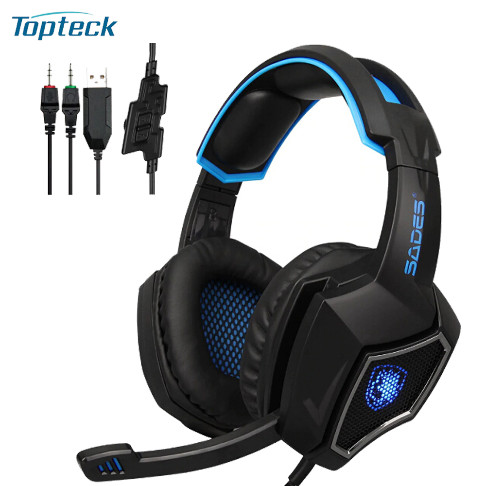 SADES R9 PC Gaming Headsets 3.5mm Wired Earphone Over Ear Game Headphone with Microphone LED Light Volume Control