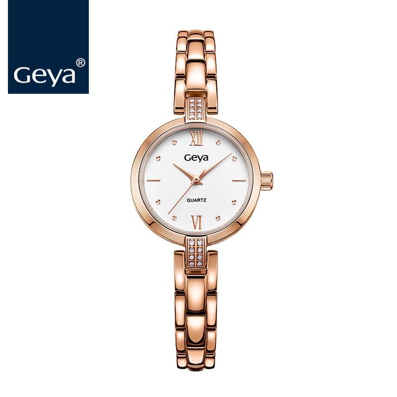 2016 montres femmes Geya Fashion Rose Gold Ladies Watch 50m waterproof SS Strap Swimming Womens Bracelet Watches Christmas Gifts