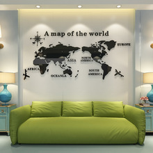 Creative DIY World map 3D stereo acrylic crystal wall stickers Living Room Bedroom office culture wall decor Large Art Sticker