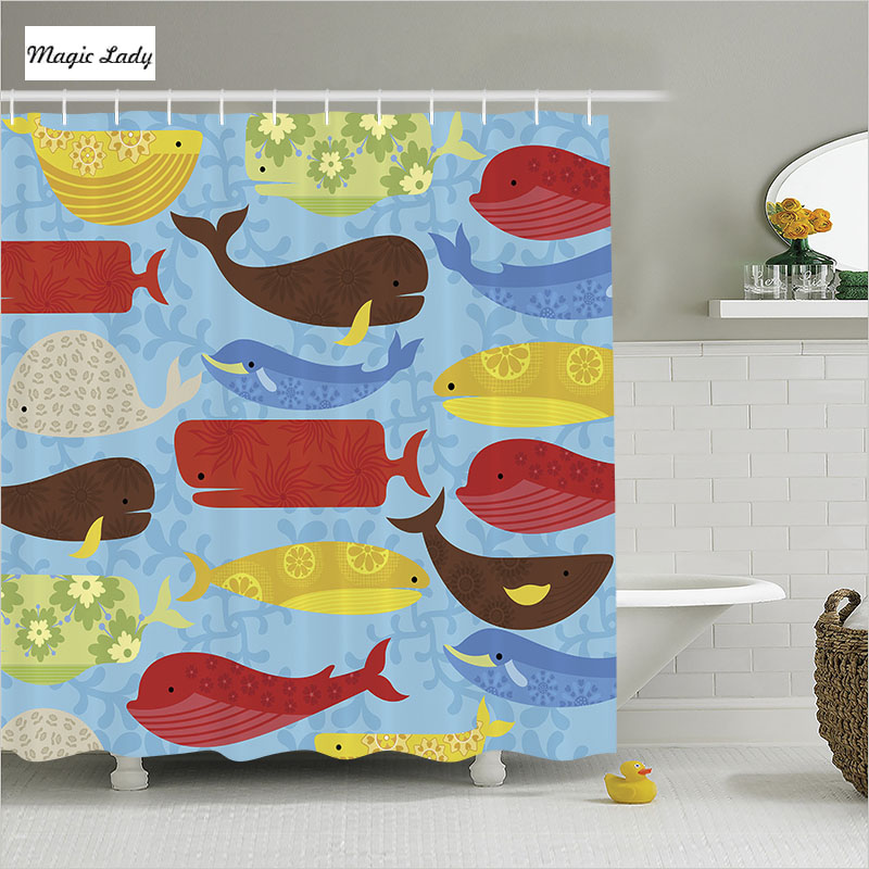 Shower Curtain Cartoon Bathroom Accessories Whale Shark