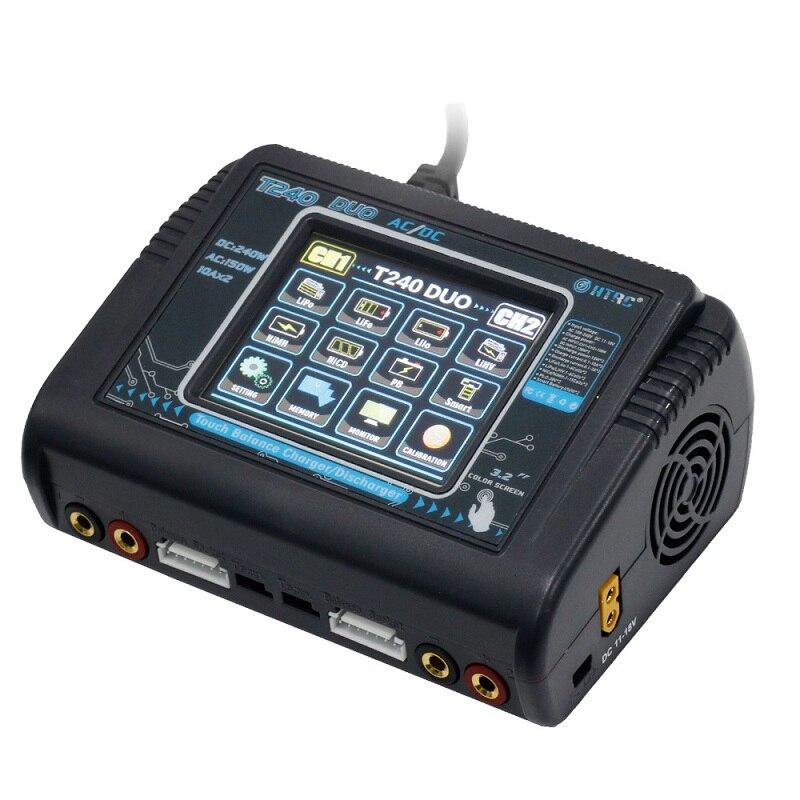 HTRC T240 DUO AC 150 Вт DC 240 Вт 10A Сенсорный экран двухканальный Батарея баланс Зарядное устройство Dis Зарядное устройство для игрушечных камер модел...