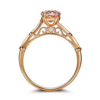 Peacock Star Vintage Style 14K Rose Gold Engagement Ring 1.2 Ct Peach Morganite Natural Diamonds 1