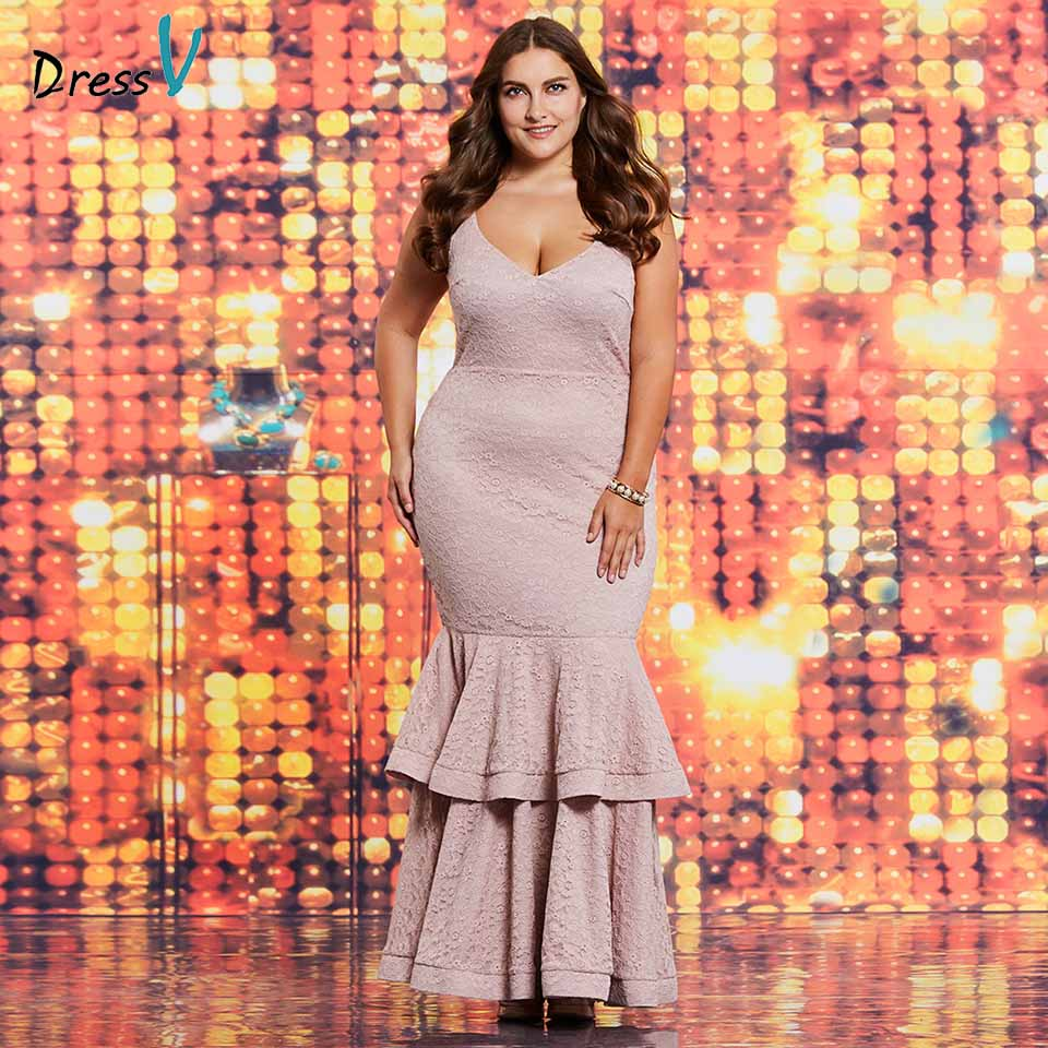 Dressv pink v neck lace plus size evening dress elegant mermaid sleeveless wedding party formal dress trumpet evening dresses