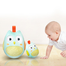 Cute Baby Toys Nodding Moving Eyes Owl Doll Baby Rattles Gifts Baby Tumbler Toy With Bell Toys For Children