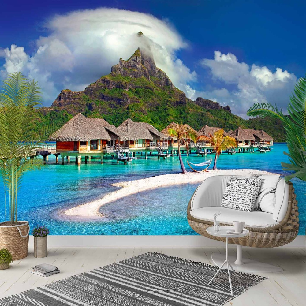 Else Blue Tropical Sea Green Island Houses  3d Photo Cleanable Fabric Mural Home Decor Living Room Bedroom Background Wallpaper