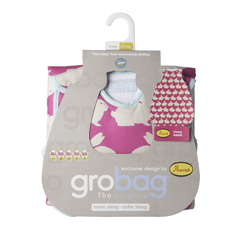 The Gro Company Kissing Bunnies Baby Sleeping Bag Pure Cotton 2.5 Tog  0-6 /6-18 /18-36 Months