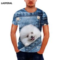 LASPERAL Hot Sale Men Tshirt Funny Dog Print Tee Tops For Male Summer Short Sleeve O