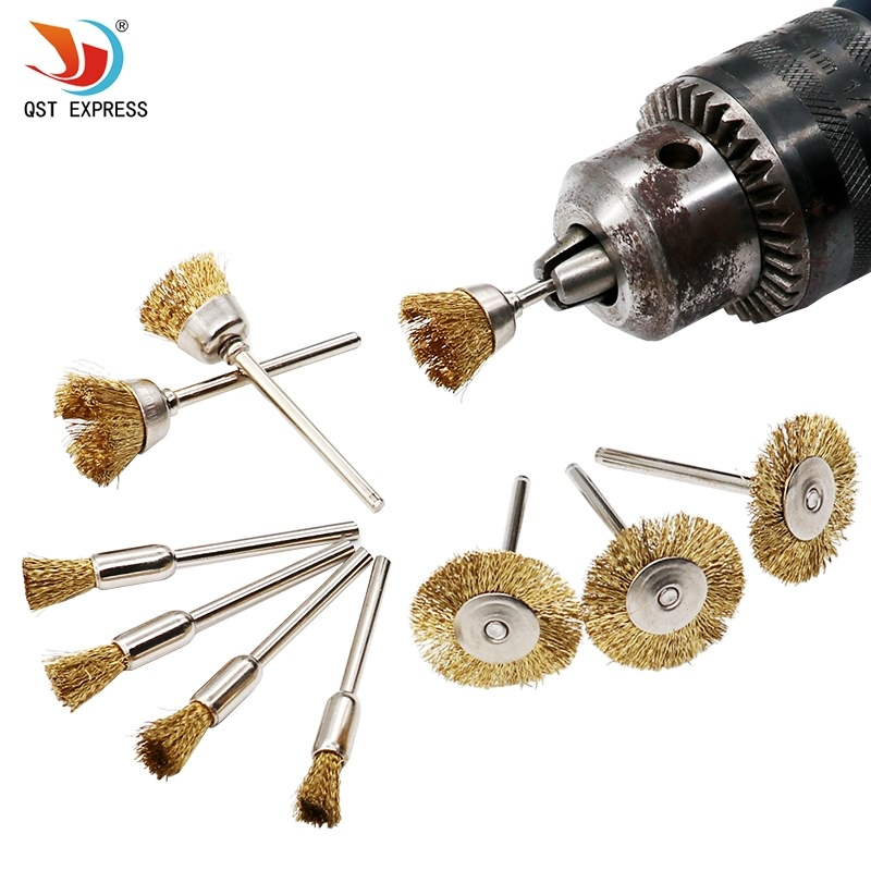 10pcs/set Brass Wire Brush Fits For Dremel Rotary Tool Accessory 1/8 (3mm) Shank 1pcs lot j112y imitation of brass wire brush for cleaning and polishing wooden brush diy using high quality on sale