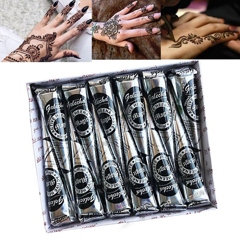 Black Henna Tattoo Paste: Golecha 12pcs 25g Natural Black Mehndi Henna Cones Indian