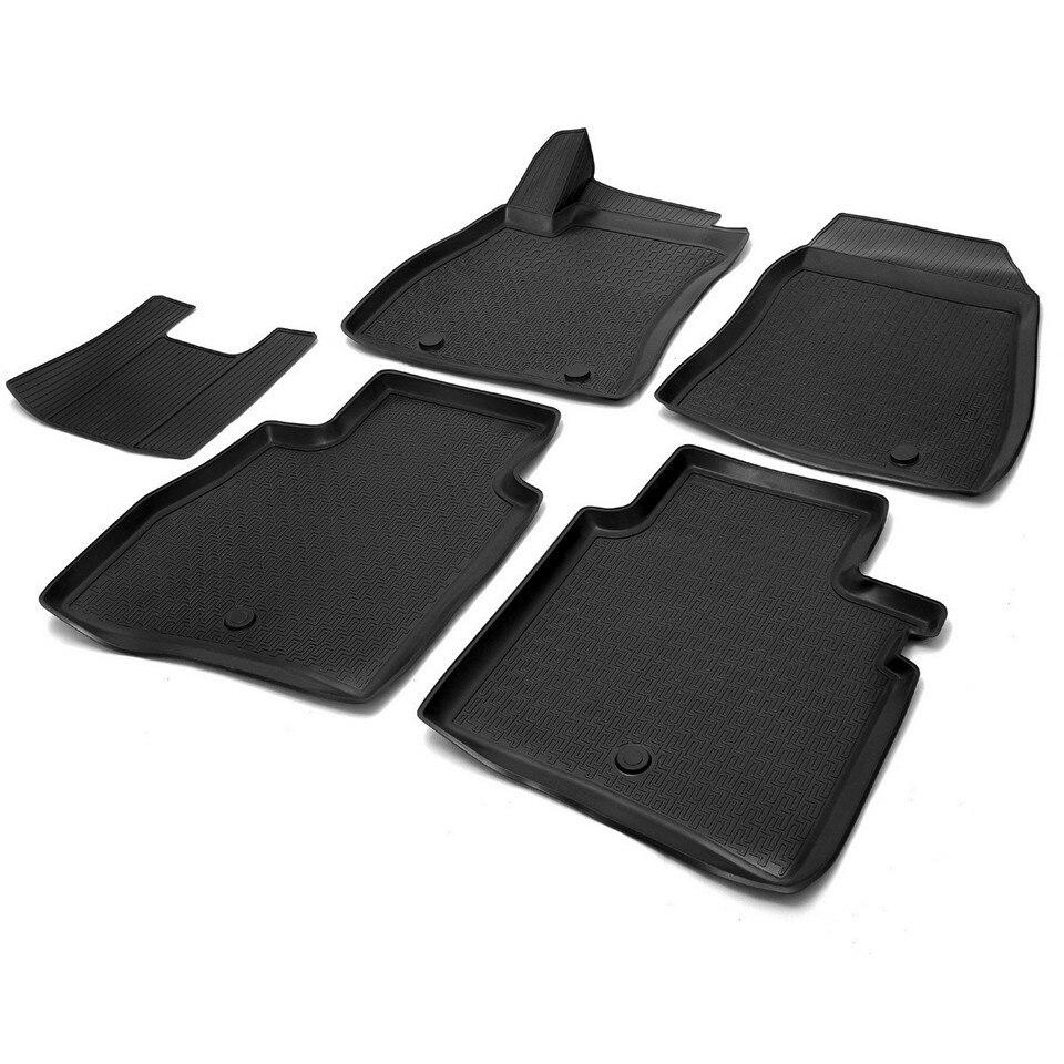 3D floor mats into saloon for Nissan Tiida HATCHBACK 2015-2019 5 pcs/set (Rival 14110001) 3d floor mats into saloon for nissan x trail t32 2015 2019 5 pcs set rival 14109001
