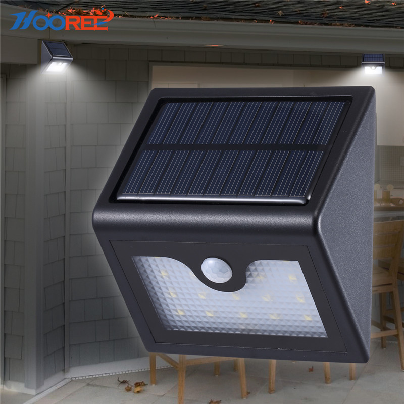 HOOREE 16 LED Solar Lamp Garden Light Outdoor Fence Wall Solar Light Waterproof Sunlight Solar Power Night Motion Sensor Light fghgf 2018 light sensor 6 led wall light outdoor garden fence ip55 waterproof lamp automatically light gutter fence warm white