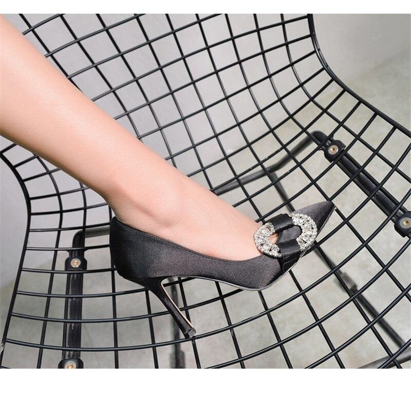 Mode Talons As as Cristal En Pointu Été Bout Stiletto Printemps Chaussures Hauts Soie Fête Pompe Femme Shown Pompes De Mariage Shown Femmes qwpRUqOv