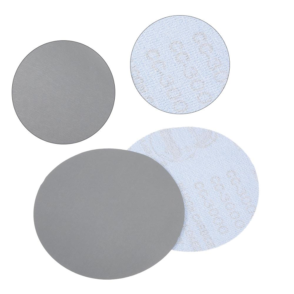 Uxcell 10pcs 5 Inch Gray Round Flocking Sandpaper Eight Hole Disk Sand Sheets Grit Hook Loop Sanding Disc Polish 3000/5000 Grits
