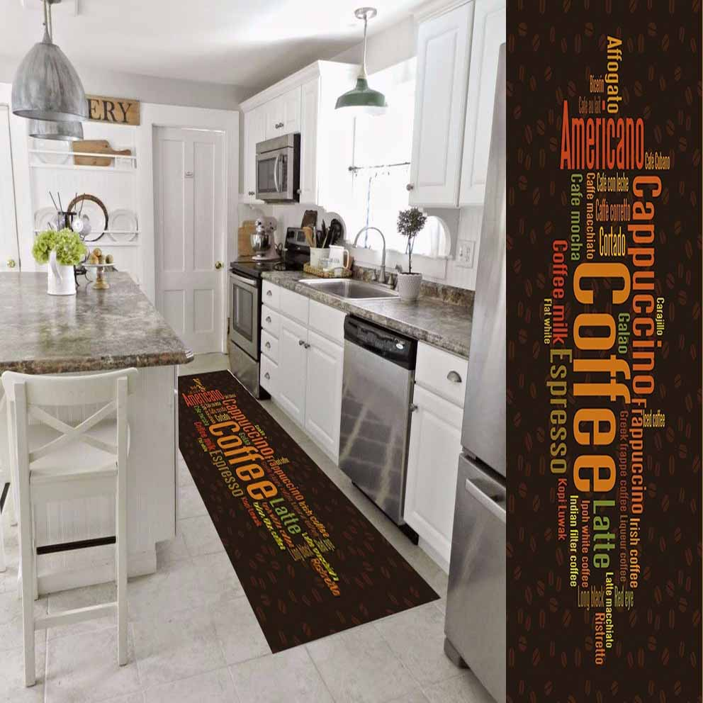 Else Dark Brown Orange Yellow Coffee Writen 3d Print Non Slip Microfiber Washable Long Runner Mat Kitchen Rugs Hallway Carpets
