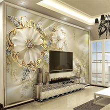 3D Golden jewelry flower TV background wall custom large wallpaper mural photo factory wholesale