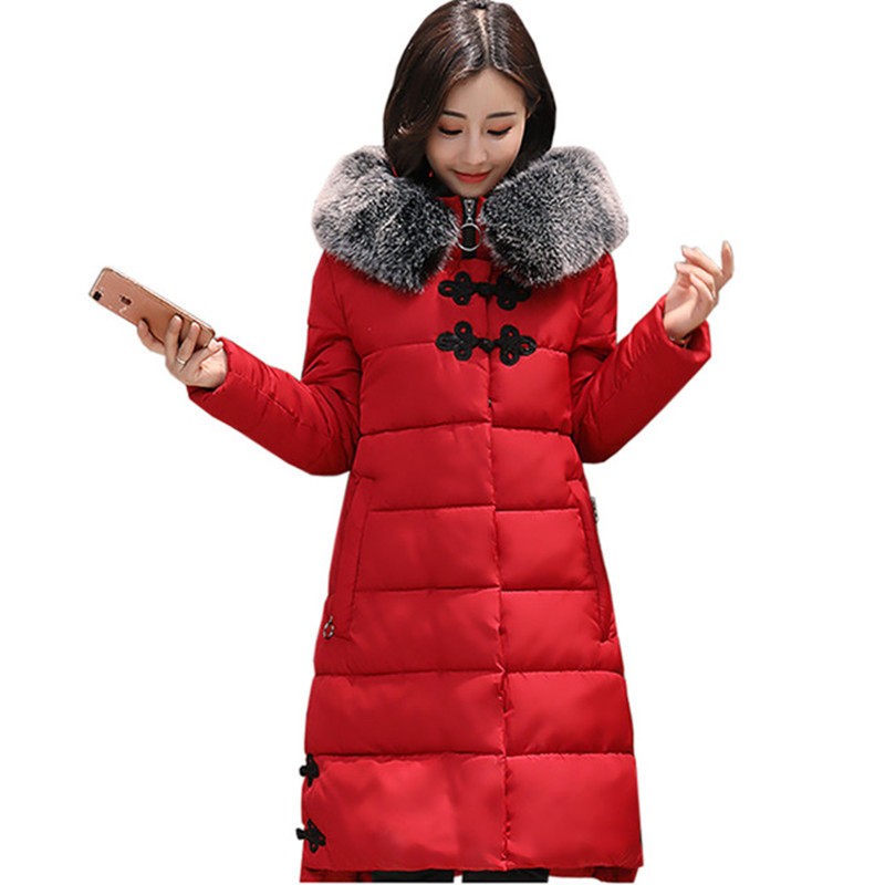 Femmes hiver coton veste Longue section à capuchon de survêtement de haute qualité col de fourrure chaud épais Parka Femme Pardessus