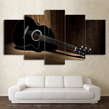 Modern Wall Art Vintage Pictures Painting 5 Panel Music Guitar Canvas Print Home Decor For Living Room Artwork