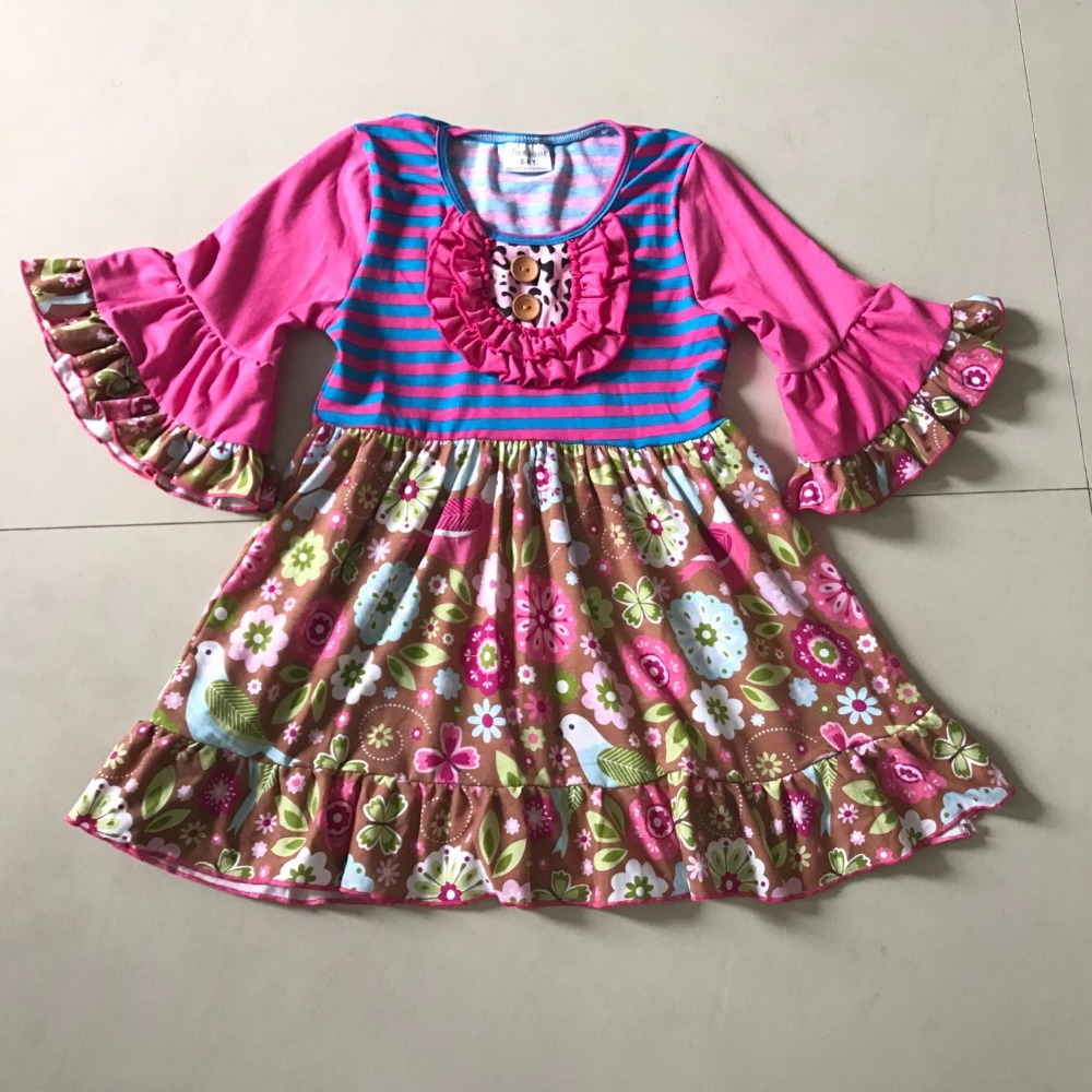 2017New Design Summer and Autumn Children Fashion Baby Girls dress Splice Printed Cloth and Infants For Kid's birthday present 2017 new children and adolescents autumn