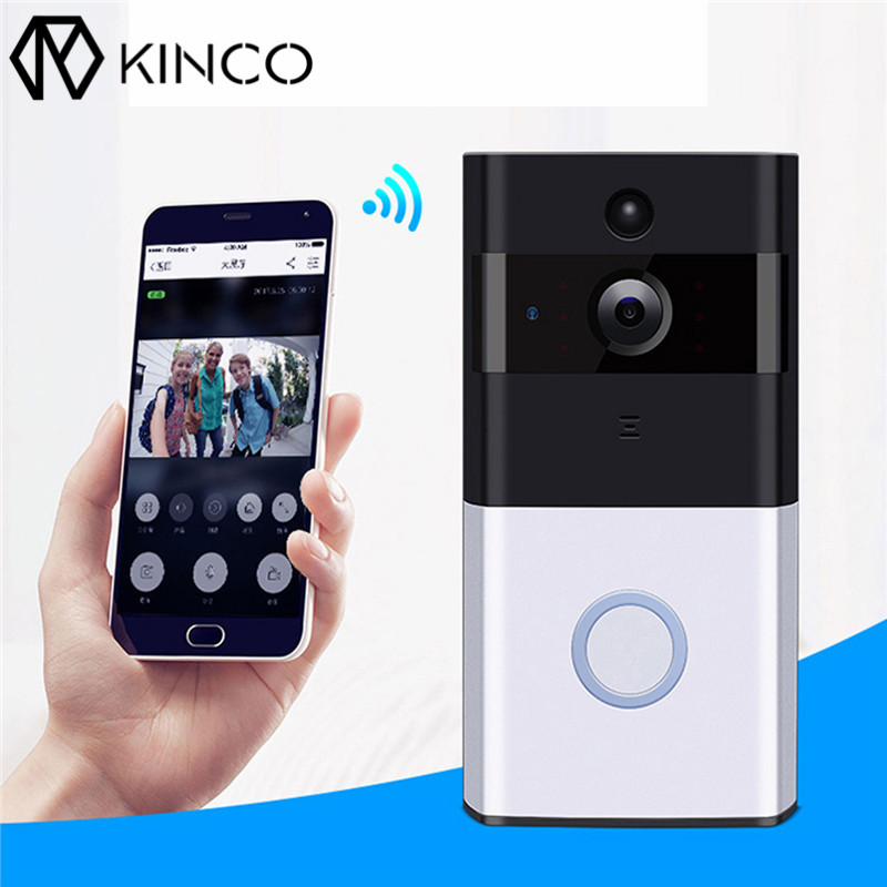 KINCO 2.4G Wi-Fi Smart Doorbell Million HD Pixels Wide-angle Lens PIR Motion Detection Day Night Clearly Visible Safety Home overall view fisheye lens 230 wide angle 16 million hd pixels lens for gopro hero 4 3 3 black silver edition accessoies gp393