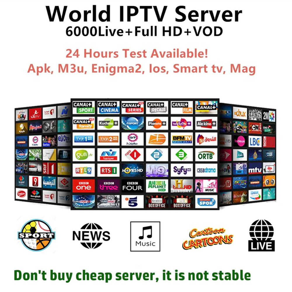 World-Iptv Channel Asian-Africa Arabic Subscription Best Europe Live-9000 HD 4K No