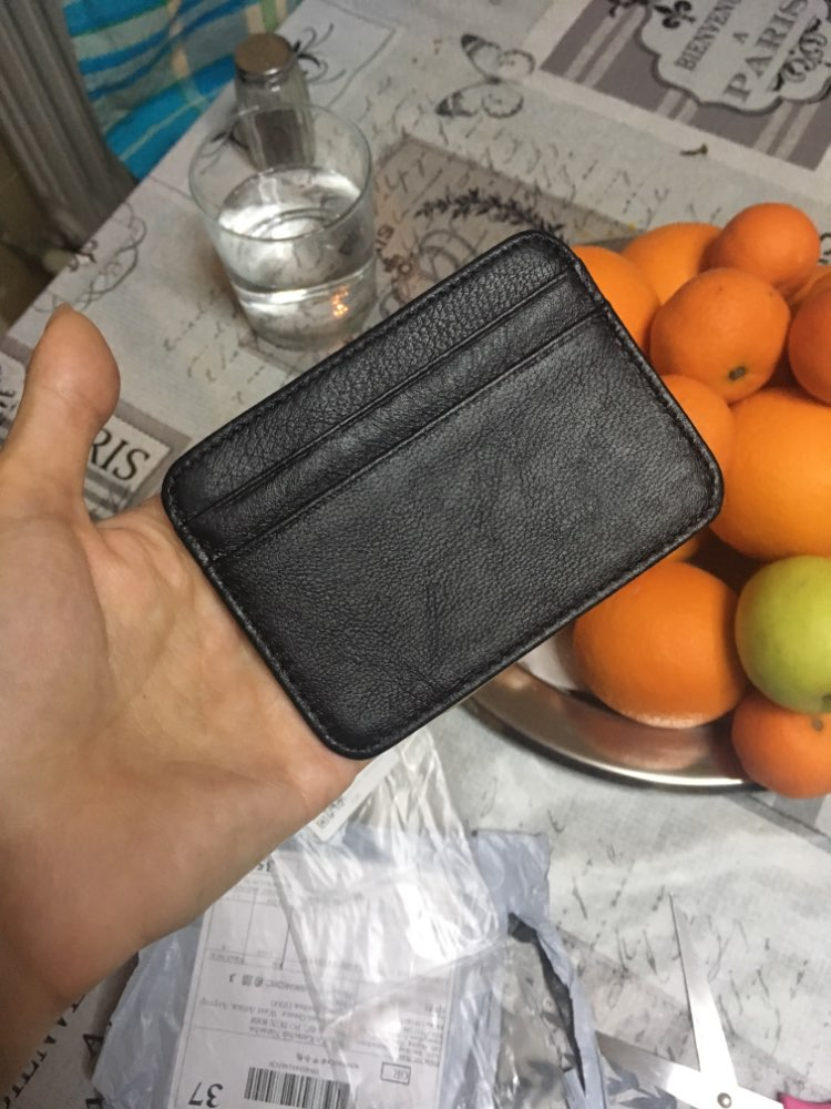 Ultra- Thin Slim Credit Card Holder PU Leather Mini Wallet ID Case Purse Bag Pouch Men Women Business Black Credit Card Holder photo review