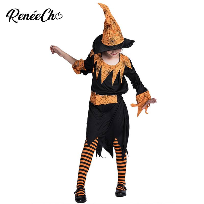 Halloween Costume For Kids Pumpkin Spider Witch Costume For Girls Yellow Dress For 4-12 Years Old Child Princess Dresses