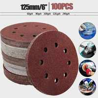 100pcs 125mm 5 Orbit Sanding Polishing Sheet Sandpaper Round Shape Sander Discs Mixed 60 80 100
