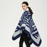 2017 New Fashion Geometric Striped Bohemian Style Triangle Women Euro Thicken Winter Cashmere Poncho Blanket Women Scarf