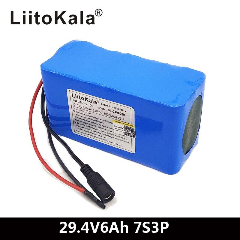 LiitoKala 24 V 6Ah 7S3P 18650 Pil 29.4 v 6000 mAh BMS Elektrikli Bisiklet Moped/Elektrik/Li iyon pil PaketiLiitoKala 24 V 6Ah 7S3P 18650 Pil 29.4 v 6000 mAh BMS Elektrikli Bisiklet Moped/Elektrik/Li iyon pil Paketi