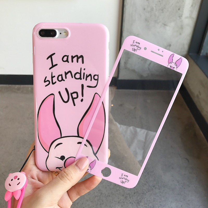 Cartoon Cute 360 Full Cover Phone Cases Tempered Glass Screen Protector for IPhone X 6 6S 7 8 Plus Iphonex for IPhone 8 Coque in Fitted Cases from Cellphones Telecommunications