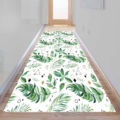 Else Tropical Green Leaf Geometric Triangle 3d Print Non Slip Microfiber Washable Long Runner Mat Floor Mat Rugs Hallway Carpets