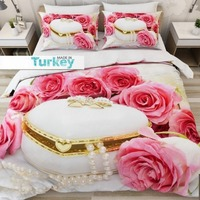 Else 6 Piece Pink Roses White Pearl Gift Box Flowers 3D Print Cotton Satin Double Duvet Cover Bedding Set Pillow Case Bed Sheet