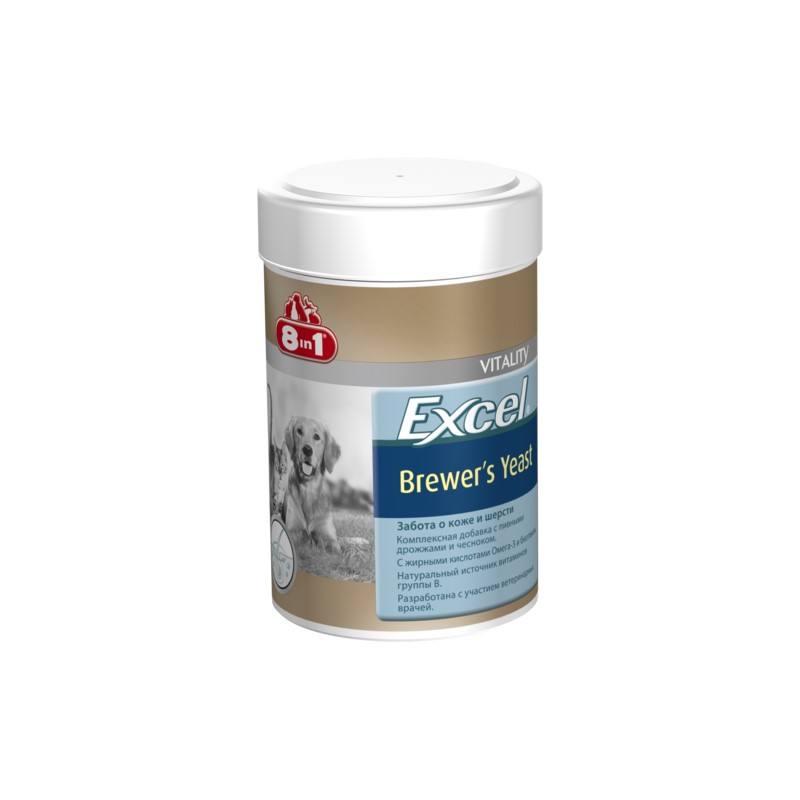 Cats vitamins 8in1 Excel Brewer's yeast for cats and dogs 260 tab. vitality excel brewers yeast для кошек