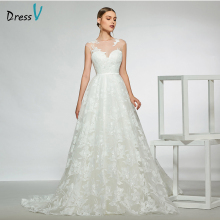 Dressv elegant sleeveless floor length wedding dress