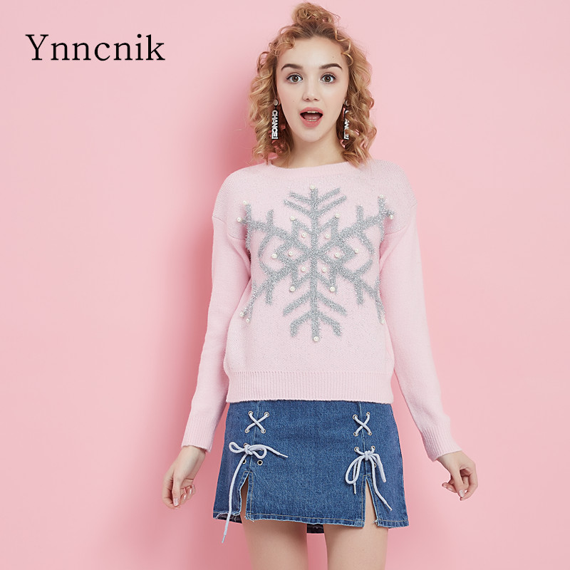 Ynncnik Christmas Sweater Snow Beaded Pearl Knitted Pullovers O-neck Sweet Students Sweater Long-sleeve Winter Fall Jumper S1012