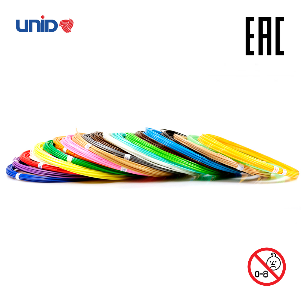 3D Pen Fillament UNID ABS 20 Multicolor Set KID PLA PRO 3D Printing Print birthday present Creativity Smart doodle drawing creopop ink for 3d printer pen plastic pla abs filament set petg rods moscow cheap russia delivery classic cyan orange red