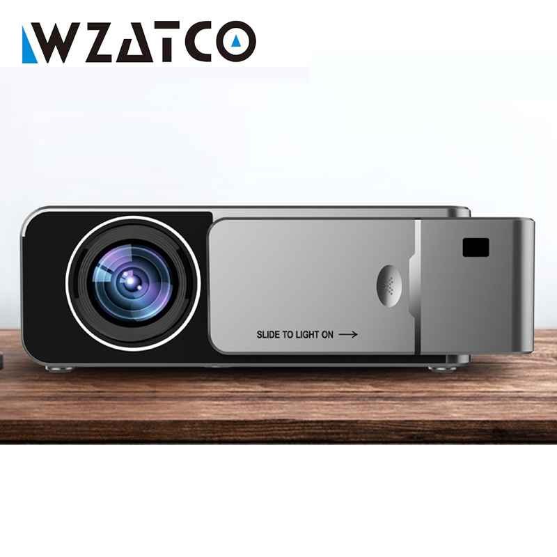 WZATCO T6 HD LED Projector 2600Lumen Android 7 1 Option Portable HDMI USB Support 4K 1080p
