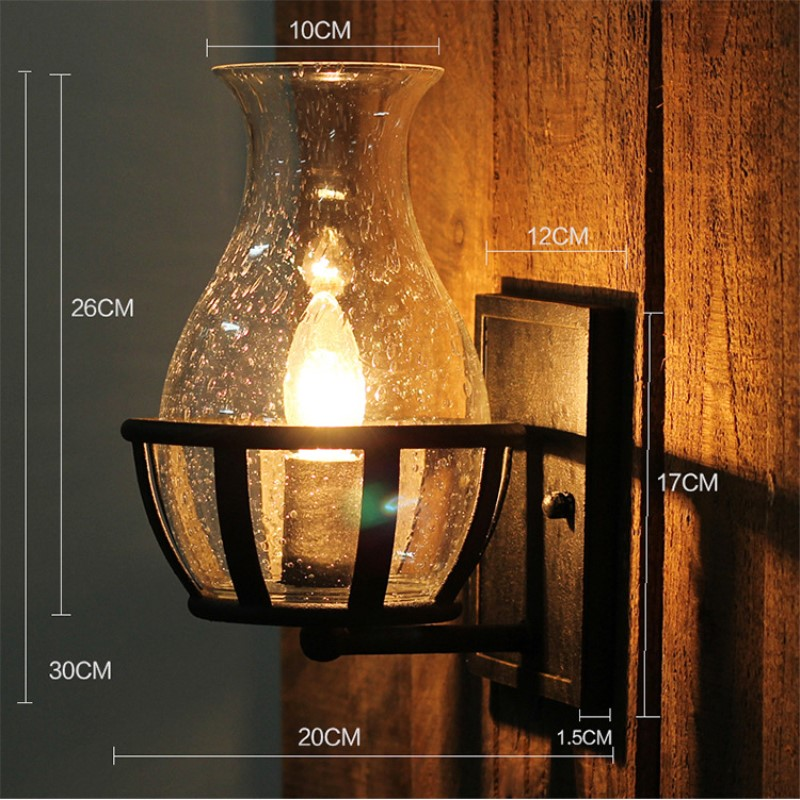 Loft Retro American Country Style Concise Glass Wall Light Restaurant Aisle Bedroom Study Balcony Decoration Lamp Free Shipping american country loft style creative personality little dog modelling glass study lamp restaurant pendant light free shipping