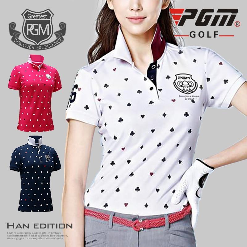 2017 NOVINKA Dámské tričko Golf T Shirt Golf Oblečení Dámské tričko Prodyšné Golf Krátký rukáv Polo tričko 86% Polyester