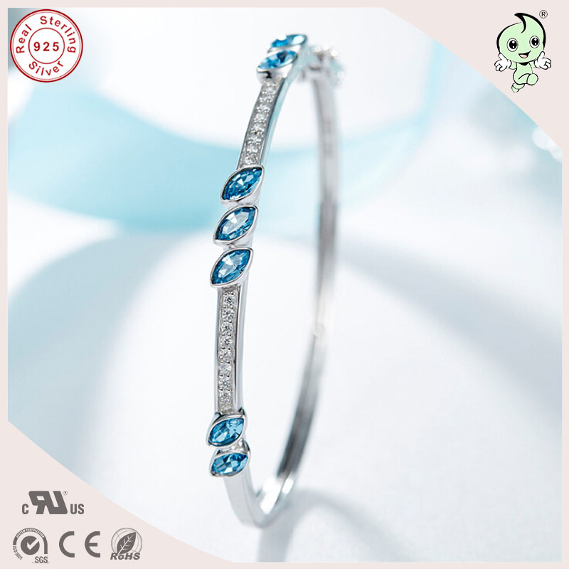 Fashion Good Quality Noble Blue Famous Crystals Paving 925 Real Silver Bangle For Ladies popular good quality gift silver jewelry bangle pink love heart famous crystals 925 pure silver bangle