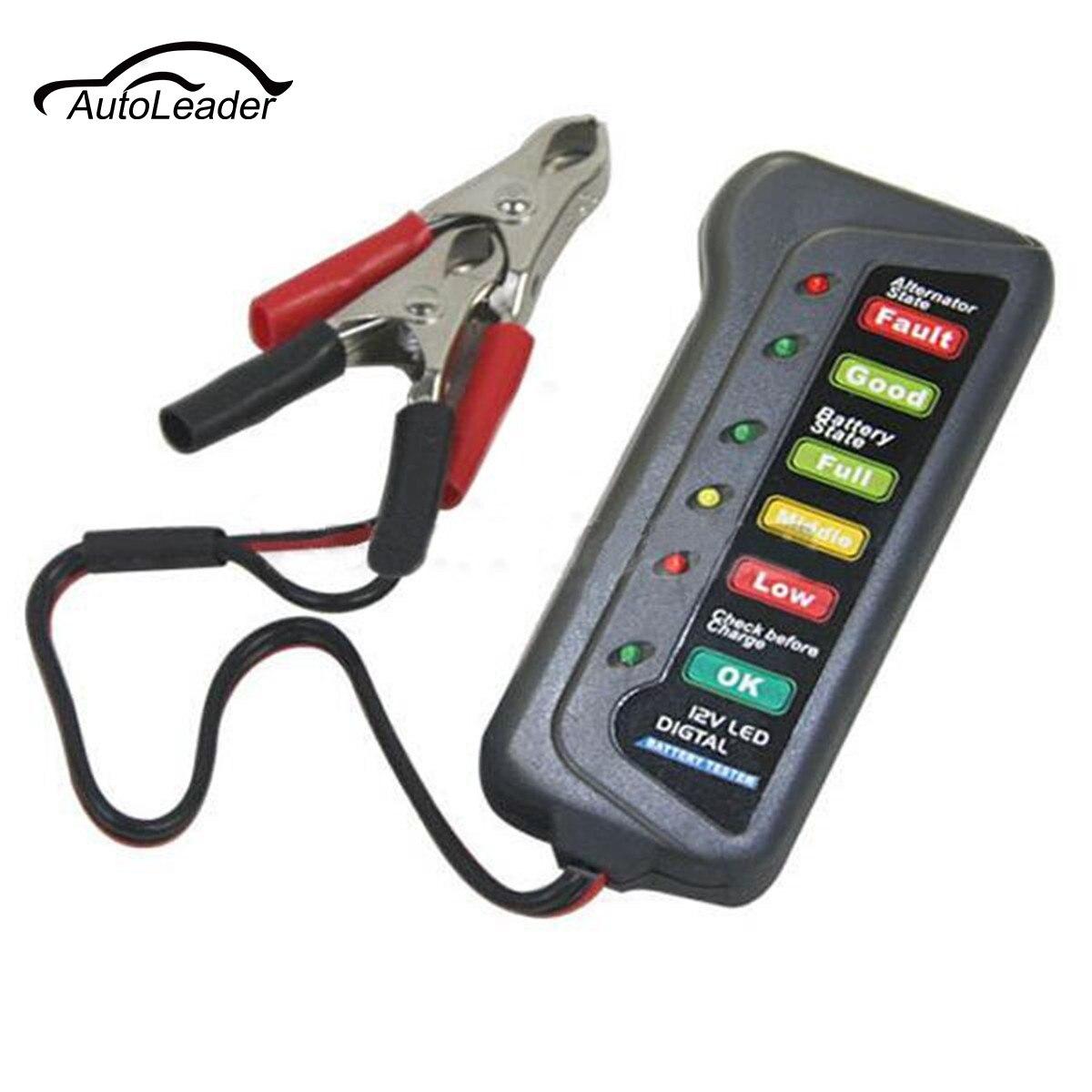 12 В светодиодный цифровой Батарея Генератор тестер автомобилей мотоциклов 6 LED 2 Зажимы единица измерения Дисплей указывают