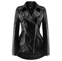 Black PU Leather Motorcycle Jacket Women Autumn Top Fashion Hot Sale Outerwear Zipper Cool Slim Fitness Female Goth Casual Coat