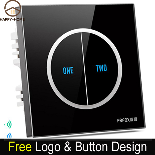Free Shipping 2 gangs 2 way Black Tempered Glass Touch Wall Light Switch Free customize button 110V~250V  micro touch switch new arrival 3 gangs 2 way gold touch light wall switch customize words led 110 250v touch switch work for any lamp free shipping