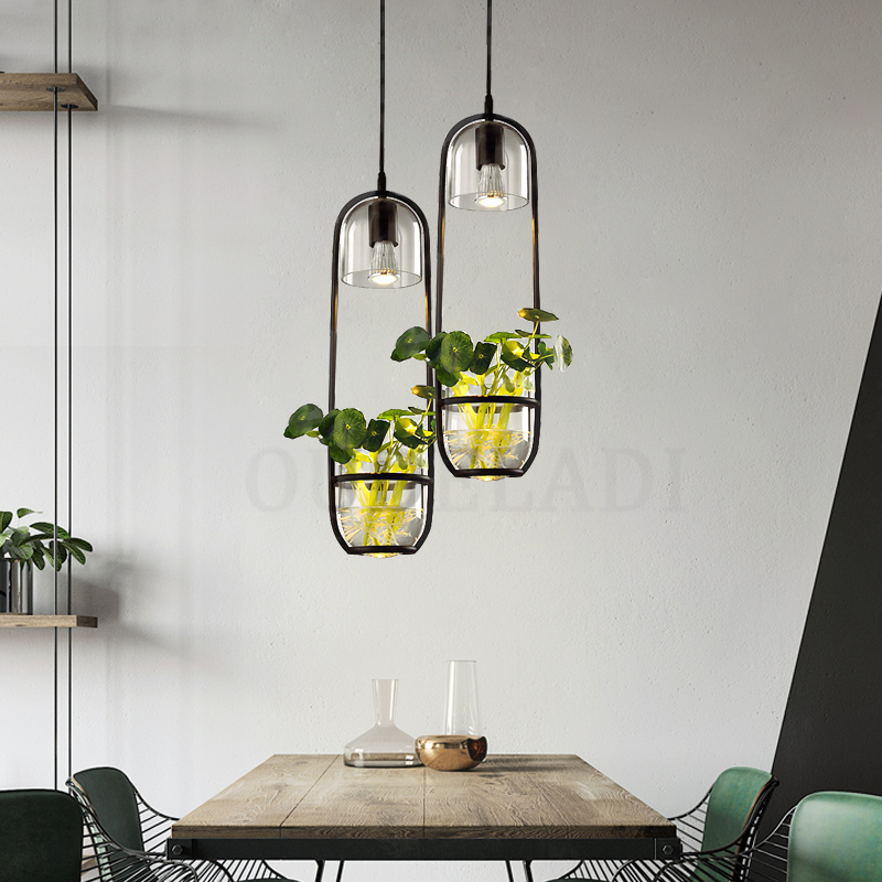 Modern Creative Iron Glass Pendant Lamp Plant Pendant Lights for Living Room Cafe Bar Decoration LED