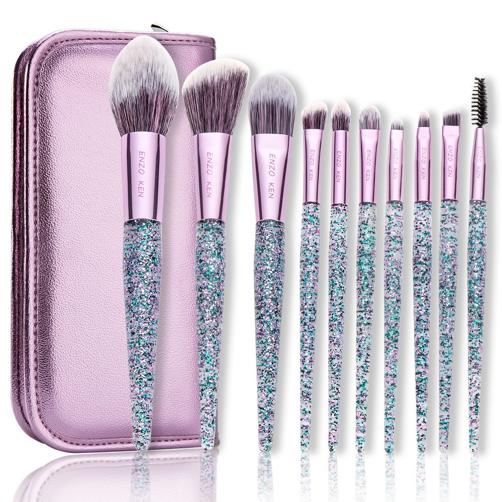 Sparkle Makeup Brushes with Case ENZO KEN 10Pcs Synthetic Foundation blush brush Powder Blending Makeup Brushes Set Professional