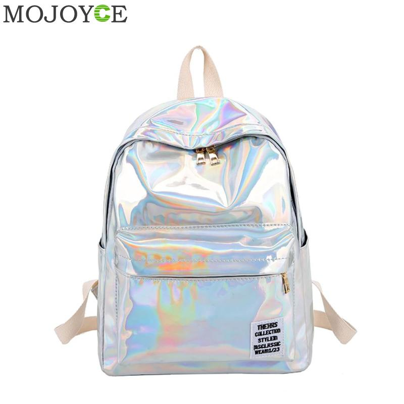 Hologram Laser Backpack For School Student Women's Laser Silver Color Holographic Bag Backpacks Women Backpack Mochila Feminina